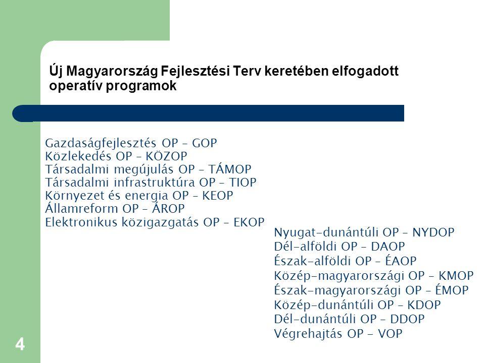 4 Új Magyarország Fejlesztési Terv keretében elfogadott operatív programok Gazdaságfejlesztés OP – GOP Közlekedés OP – KÖZOP Társadalmi megújulás OP – TÁMOP Társadalmi infrastruktúra OP – TIOP Környezet és energia OP – KEOP Államreform OP – ÁROP Elektronikus közigazgatás OP – EKOP Nyugat-dunántúli OP – NYDOP Dél-alföldi OP – DAOP Észak-alföldi OP – ÉAOP Közép-magyarországi OP – KMOP Észak-magyarországi OP – ÉMOP Közép-dunántúli OP – KDOP Dél-dunántúli OP – DDOP Végrehajtás OP - VOP
