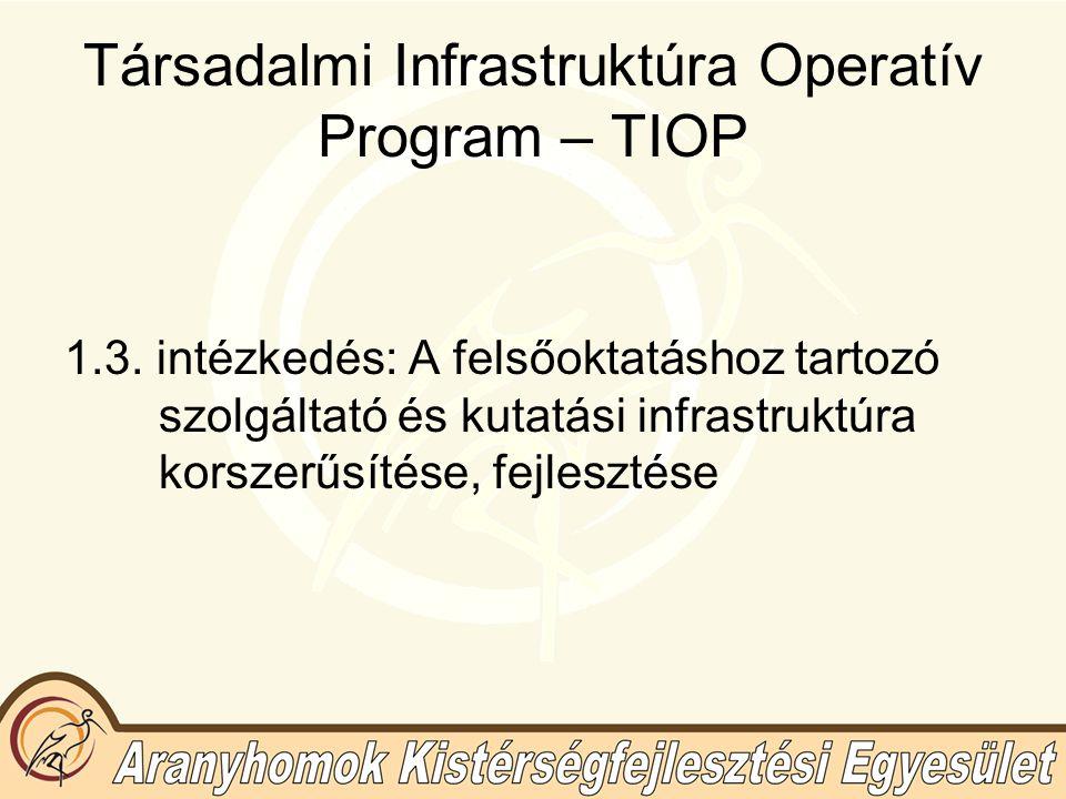 Társadalmi Infrastruktúra Operatív Program – TIOP 1.3.