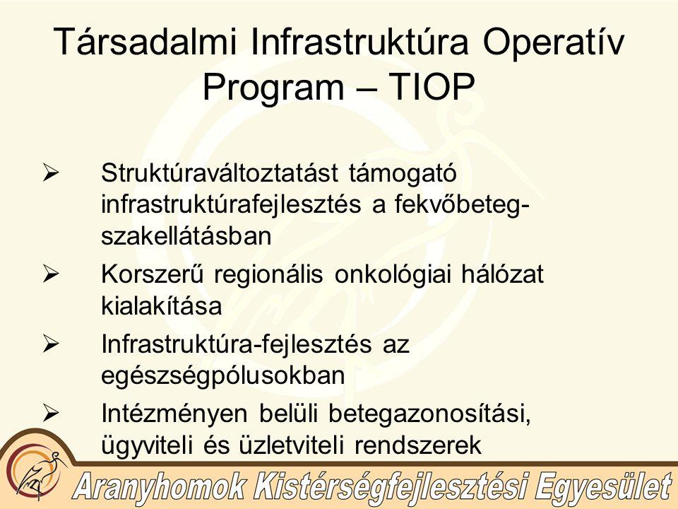 Társadalmi Infrastruktúra Operatív Program – TIOP  Struktúraváltoztatást támogató infrastruktúrafejlesztés a fekvőbeteg- szakellátásban  Korszerű regionális onkológiai hálózat kialakítása  Infrastruktúra-fejlesztés az egészségpólusokban  Intézményen belüli betegazonosítási, ügyviteli és üzletviteli rendszerek