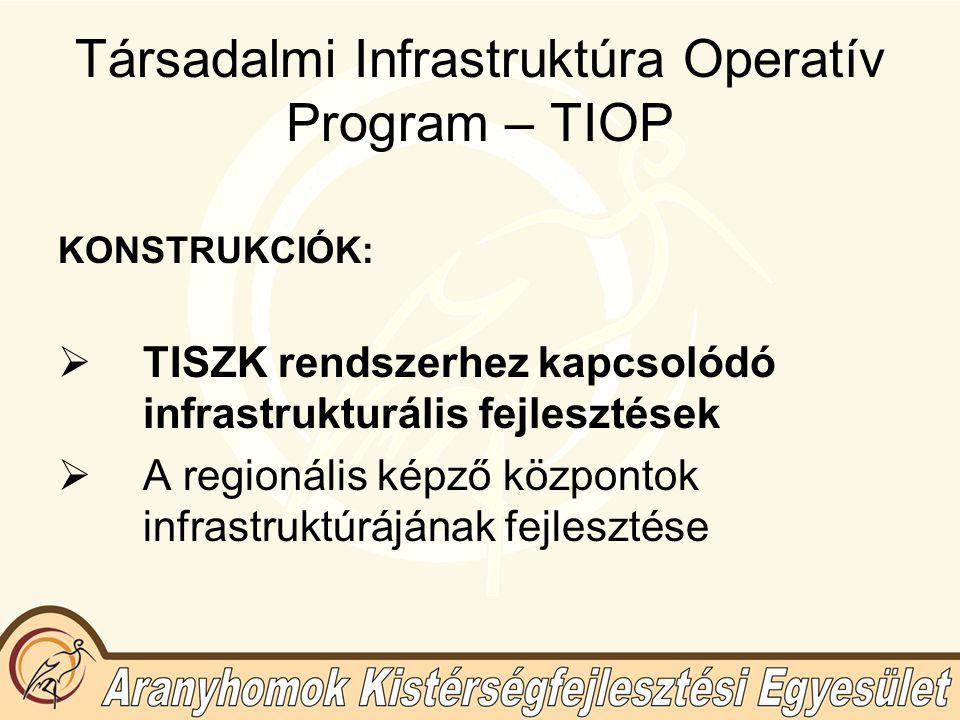 Társadalmi Infrastruktúra Operatív Program – TIOP KONSTRUKCIÓK:  TISZK rendszerhez kapcsolódó infrastrukturális fejlesztések  A regionális képző központok infrastruktúrájának fejlesztése