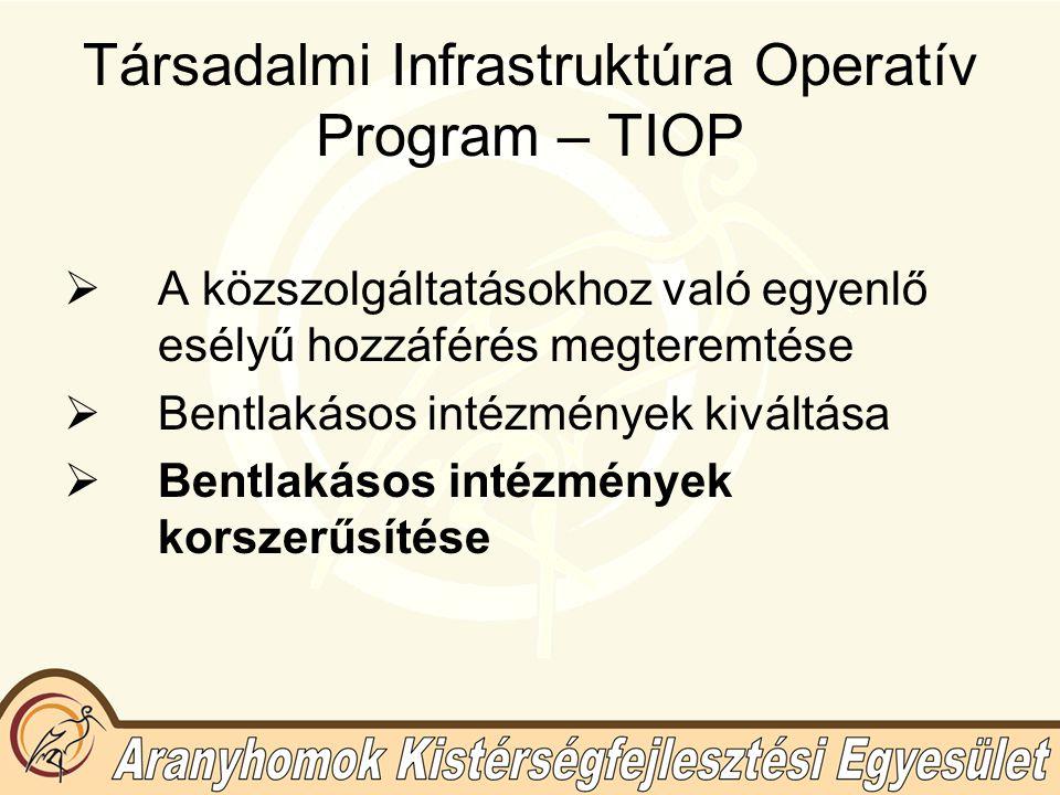 Társadalmi Infrastruktúra Operatív Program – TIOP  A közszolgáltatásokhoz való egyenlő esélyű hozzáférés megteremtése  Bentlakásos intézmények kiváltása  Bentlakásos intézmények korszerűsítése