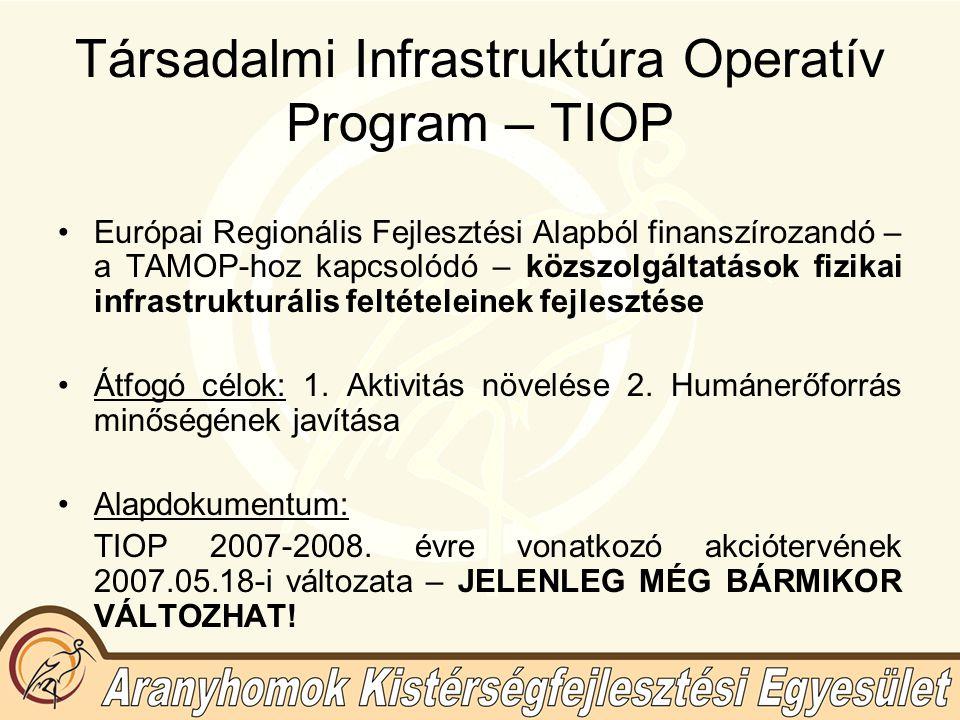 Társadalmi Infrastruktúra Operatív Program – TIOP Európai Regionális Fejlesztési Alapból finanszírozandó – a TAMOP-hoz kapcsolódó – közszolgáltatások fizikai infrastrukturális feltételeinek fejlesztése Átfogó célok: 1.