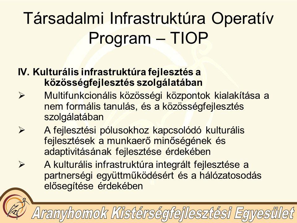 Társadalmi Infrastruktúra Operatív Program – TIOP IV.