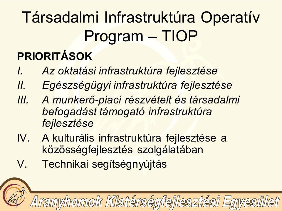 Társadalmi Infrastruktúra Operatív Program – TIOP PRIORITÁSOK I.Az oktatási infrastruktúra fejlesztése II.Egészségügyi infrastruktúra fejlesztése III.A munkerő-piaci részvételt és társadalmi befogadást támogató infrastruktúra fejlesztése IV.A kulturális infrastruktúra fejlesztése a közösségfejlesztés szolgálatában V.Technikai segítségnyújtás