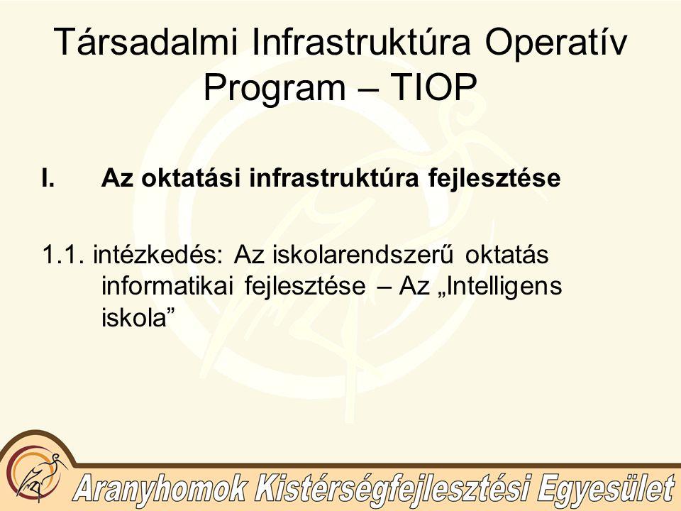 Társadalmi Infrastruktúra Operatív Program – TIOP I.Az oktatási infrastruktúra fejlesztése 1.1.