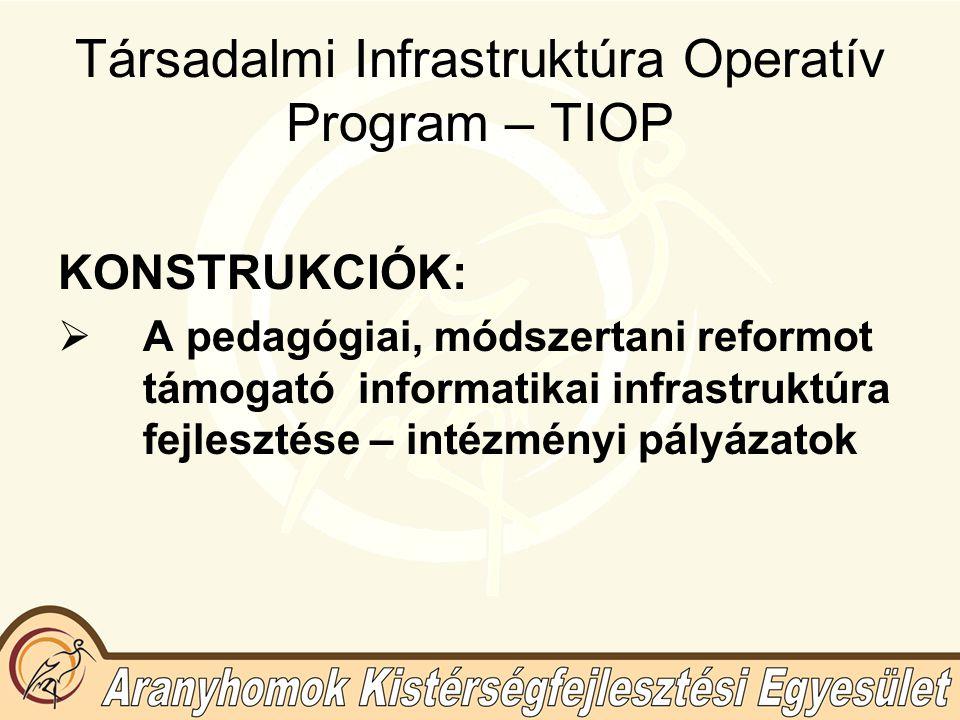 Társadalmi Infrastruktúra Operatív Program – TIOP KONSTRUKCIÓK:  A pedagógiai, módszertani reformot támogató informatikai infrastruktúra fejlesztése – intézményi pályázatok