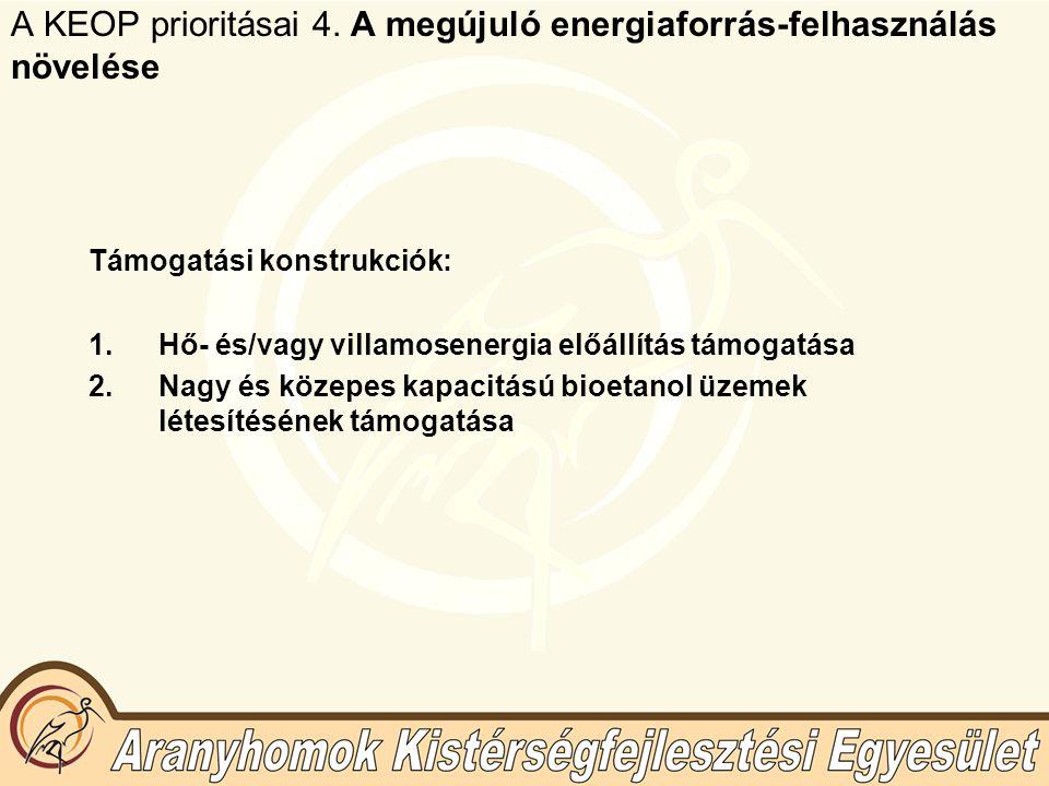 A KEOP prioritásai 4. A megújuló energiaforrás-felhasználás növelése Támogatási konstrukciók: 1.Hő- és/vagy villamosenergia előállítás támogatása 2.Na