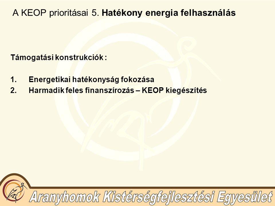A KEOP prioritásai 5. Hatékony energia felhasználás Támogatási konstrukciók : 1.Energetikai hatékonyság fokozása 2.Harmadik feles finanszírozás – KEOP