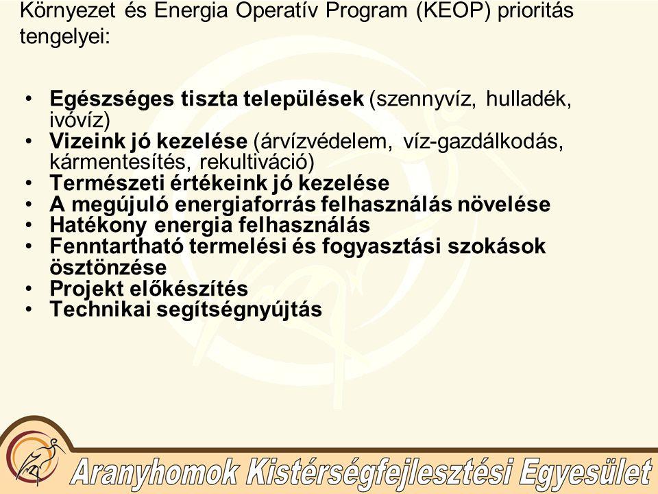 Környezet és Energia Operatív Program (KEOP) prioritás tengelyei: Egészséges tiszta települések (szennyvíz, hulladék, ivóvíz) Vizeink jó kezelése (árv