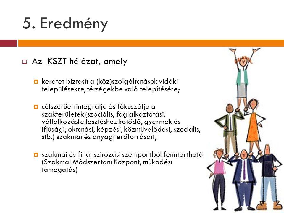 5. Eredmény  Az IKSZT hálózat, amely  keretet biztosít a (köz)szolgáltatások vidéki településekre, térségekbe való telepítésére;  célszerűen integr
