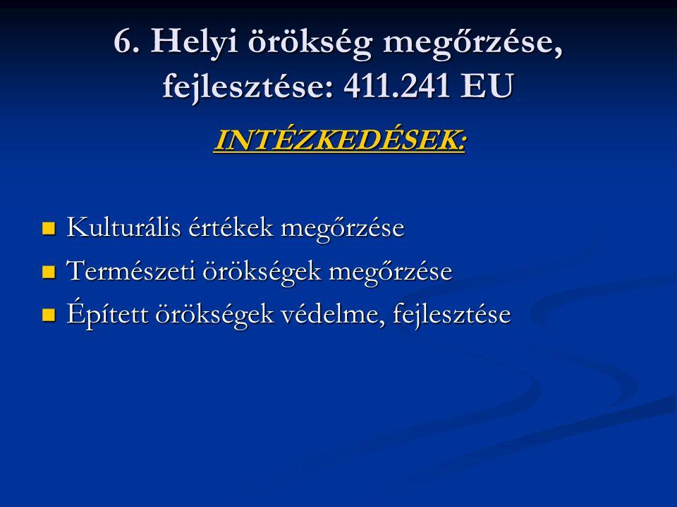 6. Helyi örökség megőrzése, fejlesztése: 411.241 EU INTÉZKEDÉSEK: Kulturális értékek megőrzése Kulturális értékek megőrzése Természeti örökségek megőr