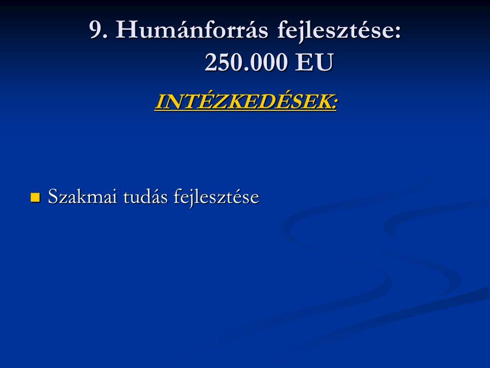 9. Humánforrás fejlesztése: 250.000 EU INTÉZKEDÉSEK: Szakmai tudás fejlesztése Szakmai tudás fejlesztése