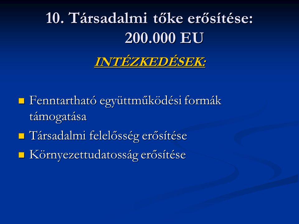 10. Társadalmi tőke erősítése: 200.000 EU INTÉZKEDÉSEK: Fenntartható együttműködési formák támogatása Fenntartható együttműködési formák támogatása Tá