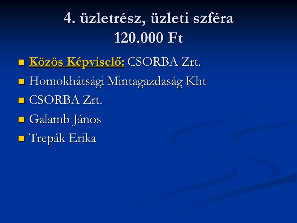 4. üzletrész, üzleti szféra 120.000 Ft Közös Képviselő: CSORBA Zrt.