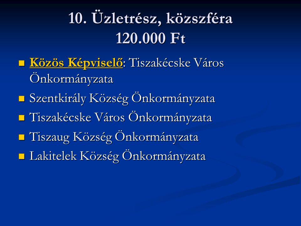 10. Üzletrész, közszféra 120.000 Ft Közös Képviselő: Tiszakécske Város Önkormányzata Közös Képviselő: Tiszakécske Város Önkormányzata Szentkirály Közs