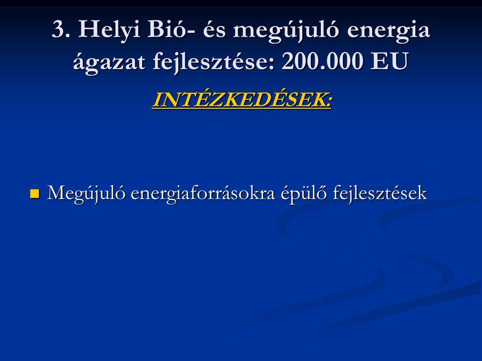 3. Helyi Bió- és megújuló energia ágazat fejlesztése: 200.000 EU INTÉZKEDÉSEK: Megújuló energiaforrásokra épülő fejlesztések Megújuló energiaforrásokr