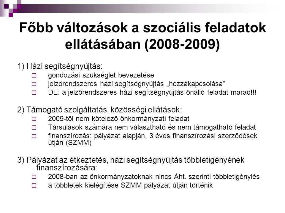 """Főbb változások a szociális feladatok ellátásában (2008-2009) 1) Házi segítségnyújtás:  gondozási szükséglet bevezetése  jelzőrendszeres házi segítségnyújtás """"hozzákapcsolása  DE: a jelzőrendszeres házi segítségnyújtás önálló feladat marad!!."""