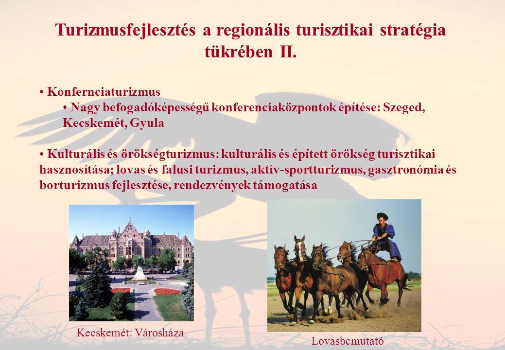 Turizmusfejlesztés a regionális turisztikai stratégia tükrében II. Konfernciaturizmus Nagy befogadóképességű konferenciaközpontok építése: Szeged, Kec