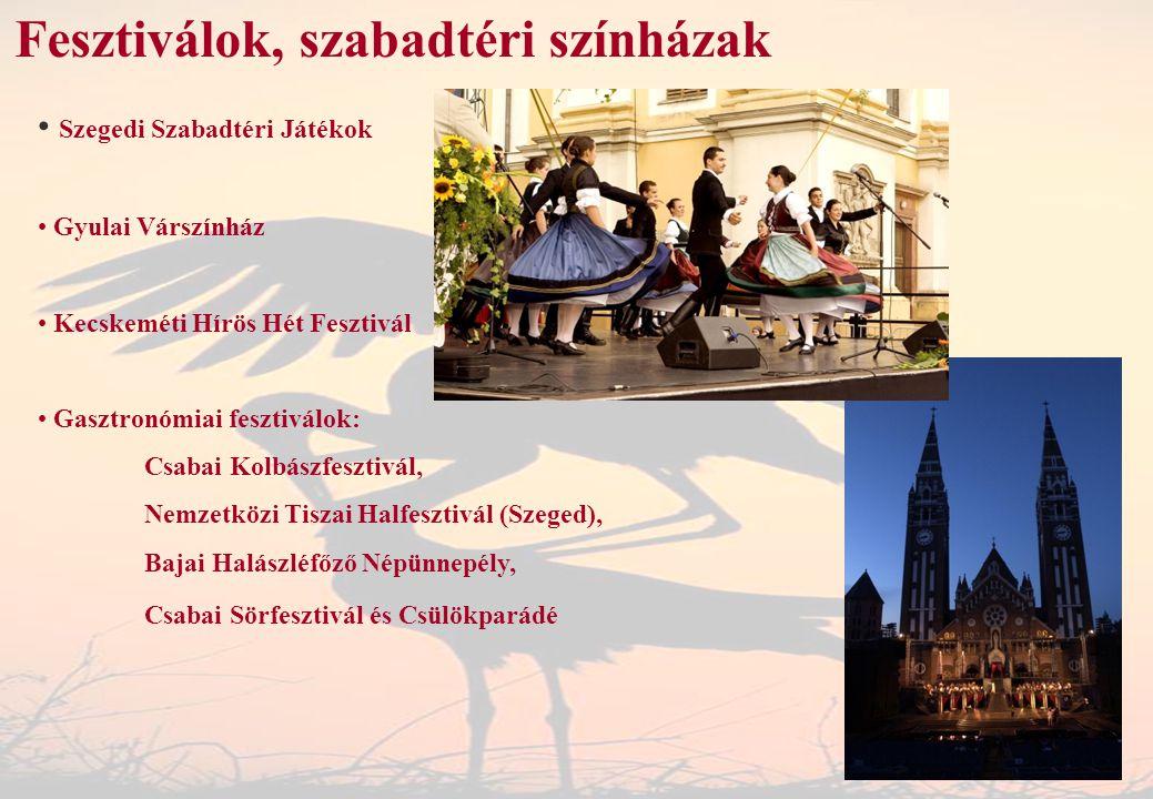 Fesztiválok, szabadtéri színházak Szegedi Szabadtéri Játékok Gyulai Várszínház Kecskeméti Hírös Hét Fesztivál Gasztronómiai fesztiválok: Csabai Kolbás