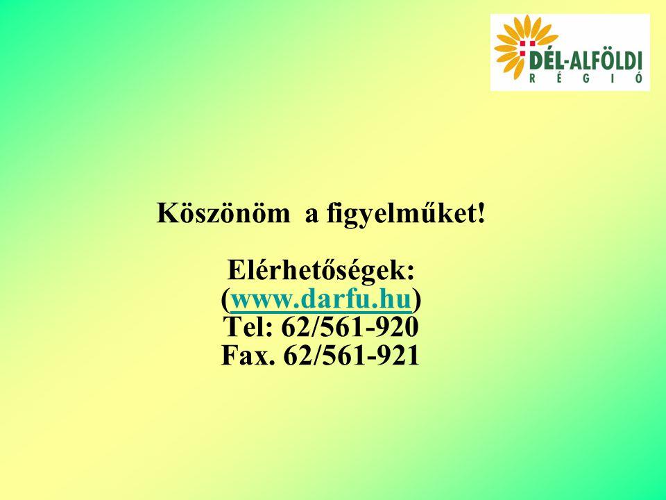 Köszönöm a figyelműket! Elérhetőségek: (www.darfu.hu)www.darfu.hu Tel: 62/561-920 Fax. 62/561-921