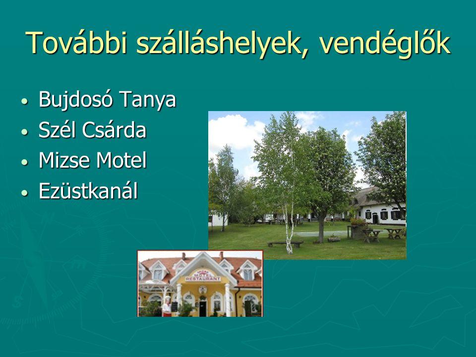 További szálláshelyek, vendéglők Bujdosó Tanya Bujdosó Tanya Szél Csárda Szél Csárda Mizse Motel Mizse Motel Ezüstkanál Ezüstkanál