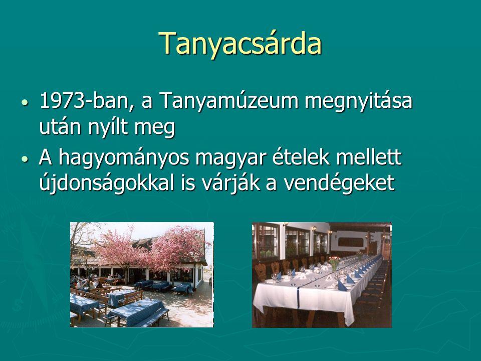 Tanyacsárda 1973-ban, a Tanyamúzeum megnyitása után nyílt meg 1973-ban, a Tanyamúzeum megnyitása után nyílt meg A hagyományos magyar ételek mellett újdonságokkal is várják a vendégeket A hagyományos magyar ételek mellett újdonságokkal is várják a vendégeket