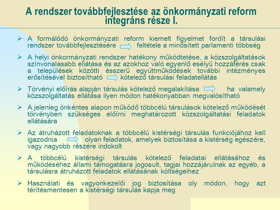 Ugrás az első oldalra A rendszer továbbfejlesztése az önkormányzati reform integráns része II.