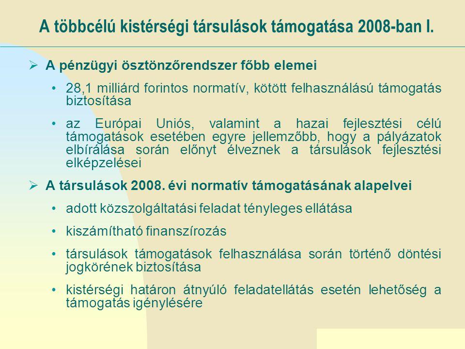 Ugrás az első oldalra A többcélú kistérségi társulások támogatása 2008-ban II.