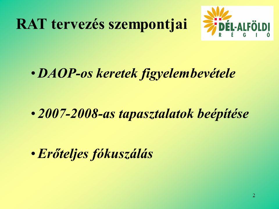 2 DAOP-os keretek figyelembevétele 2007-2008-as tapasztalatok beépítése Erőteljes fókuszálás RAT tervezés szempontjai