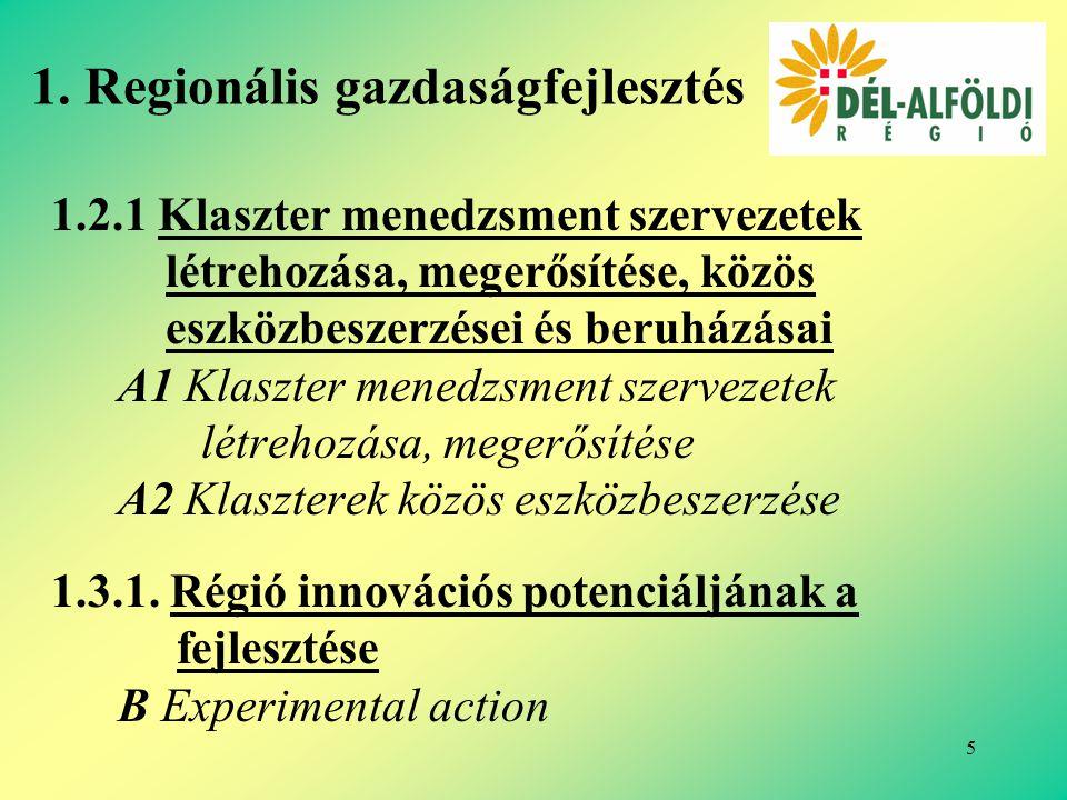 5 1.2.1 Klaszter menedzsment szervezetek létrehozása, megerősítése, közös eszközbeszerzései és beruházásai A1 Klaszter menedzsment szervezetek létrehozása, megerősítése A2 Klaszterek közös eszközbeszerzése 1.3.1.