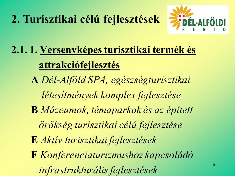 7 2.1.2.Turisztikai fogadóképesség javítása A Turisztikai vonzerőkhöz kapcsolódó kereskedelmi szálláshelyek minőségi és mennyiségi fejlesztése B Turisztikai desztináció menedzsment szervezetek és rendszerek létrehozása 2.