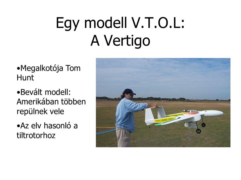 Egy modell V.T.O.L: A Vertigo Megalkotója Tom Hunt Bevált modell: Amerikában többen repülnek vele Az elv hasonló a tiltrotorhoz