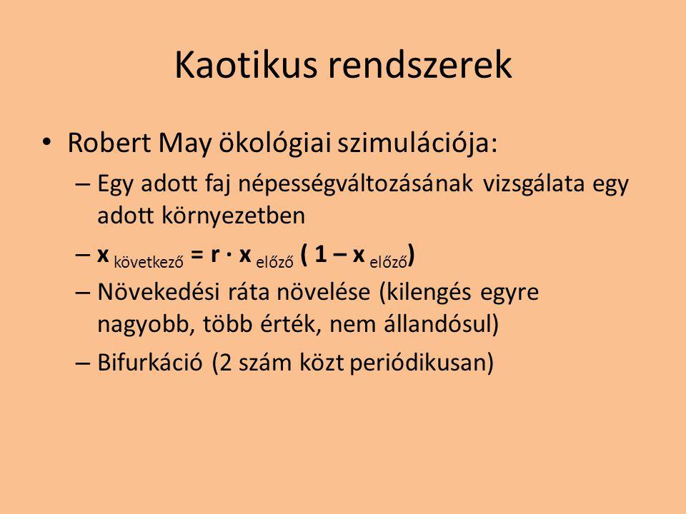 Kaotikus rendszerek Robert May ökológiai szimulációja: – Egy adott faj népességváltozásának vizsgálata egy adott környezetben – x következő = r · x el