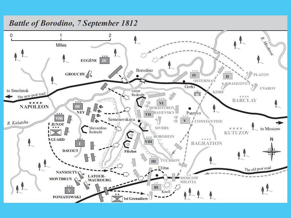 Borogyinói csata 1812.09.07. Kontinentális zárlat megszegése 500 000 francia indult el (Grande Armée) 130 000 francia – 120 000 orosz (30 000 – 40 000