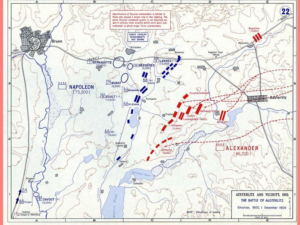 Austerlitzi csata (3 császár csatája) 1805.12.02. Franciaország – Harmadik Koalíció (Rus+Habs) Csata előtt: naptári hiba, Karl Mack bajor megadás, Béc