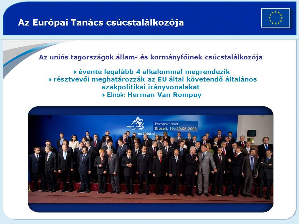 Az Európai Tanács csúcstalálkozója Az uniós tagországok állam- és kormányfőinek csúcstalálkozója  évente legalább 4 alkalommal megrendezik  résztvevői meghatározzák az EU által követendő általános szakpolitikai irányvonalakat  Elnök : Herman Van Rompuy