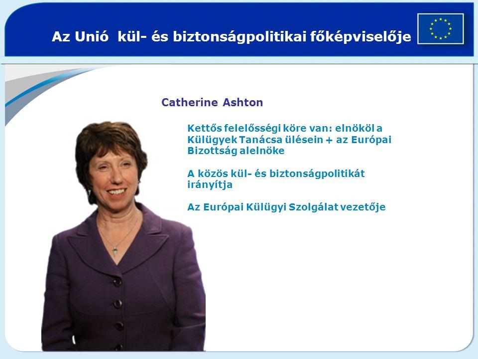 Az Unió kül- és biztonságpolitikai főképviselője Catherine Ashton Kettős felelősségi köre van: elnököl a Külügyek Tanácsa ülésein + az Európai Bizottság alelnöke A közös kül- és biztonságpolitikát irányítja Az Európai Külügyi Szolgálat vezetője