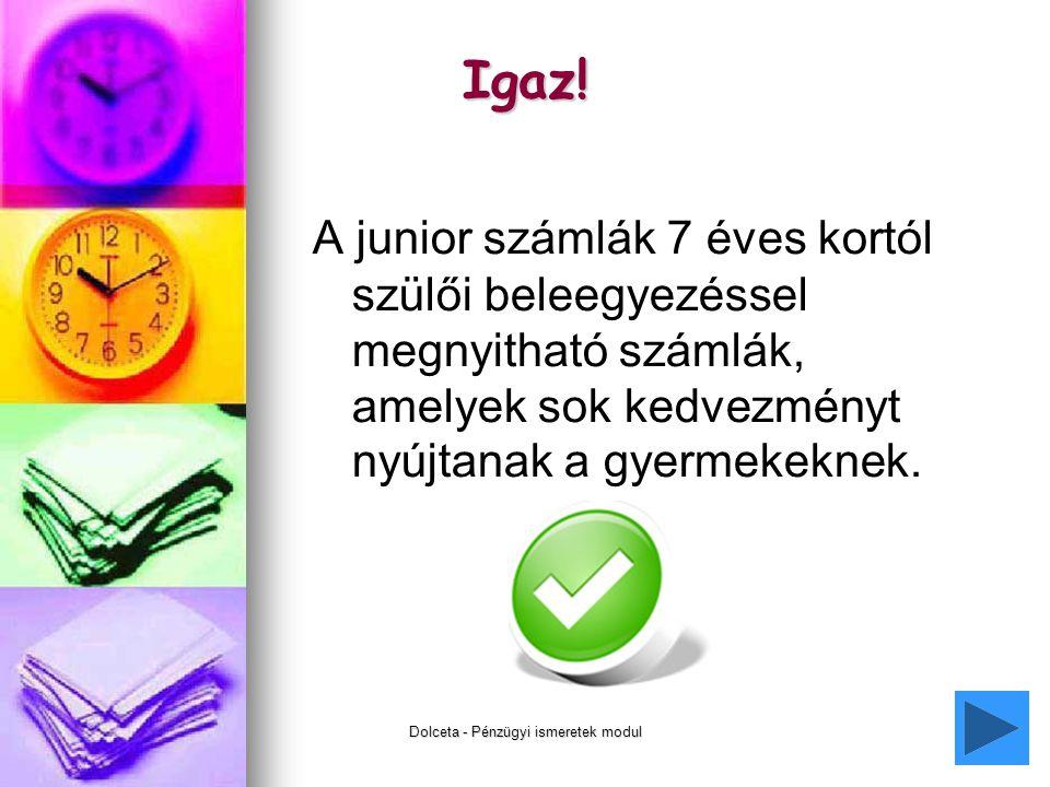 Dolceta - Pénzügyi ismeretek modul13 Igaz.