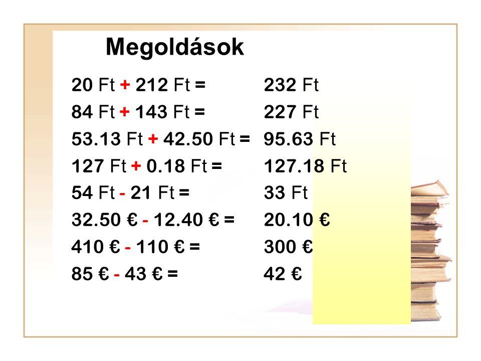 Megoldások 20 Ft + 212 Ft = 232 Ft 84 Ft + 143 Ft = 227 Ft 53.13 Ft + 42.50 Ft =95.63 Ft 127 Ft + 0.18 Ft = 127.18 Ft 54 Ft - 21 Ft = 33 Ft 32.50 € - 12.40 € = 20.10 € 410 € - 110 € =300 € 85 € - 43 € = 42 €