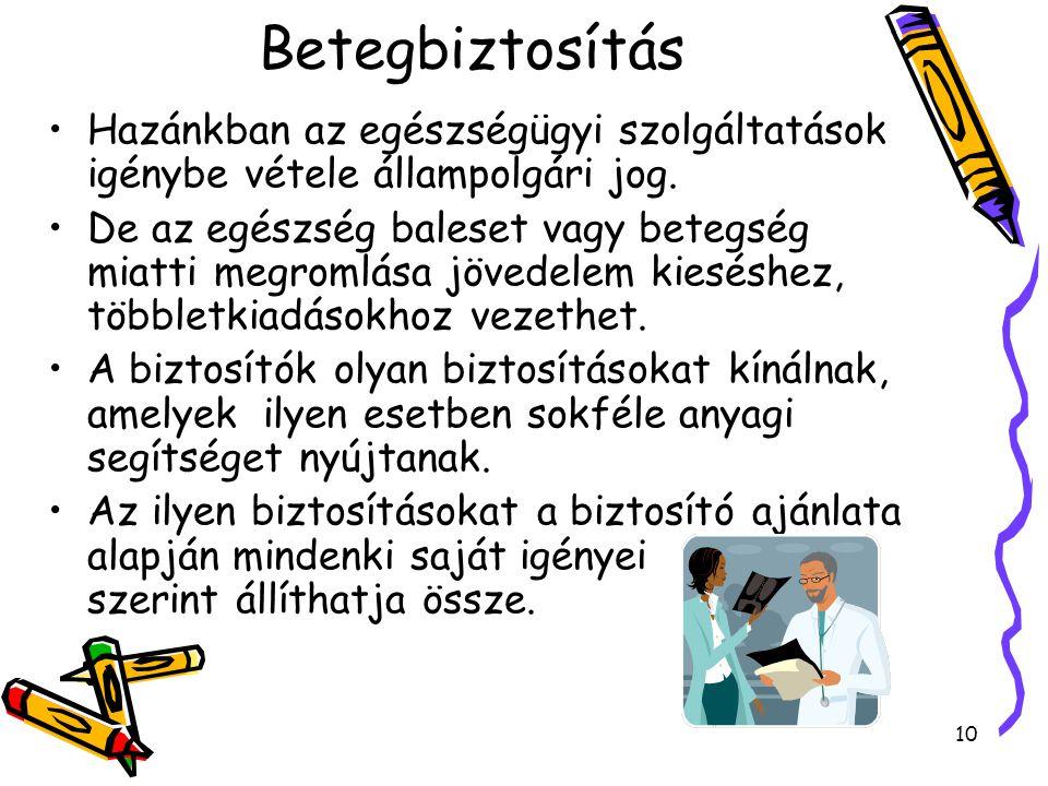 10 Betegbiztosítás Hazánkban az egészségügyi szolgáltatások igénybe vétele állampolgári jog.