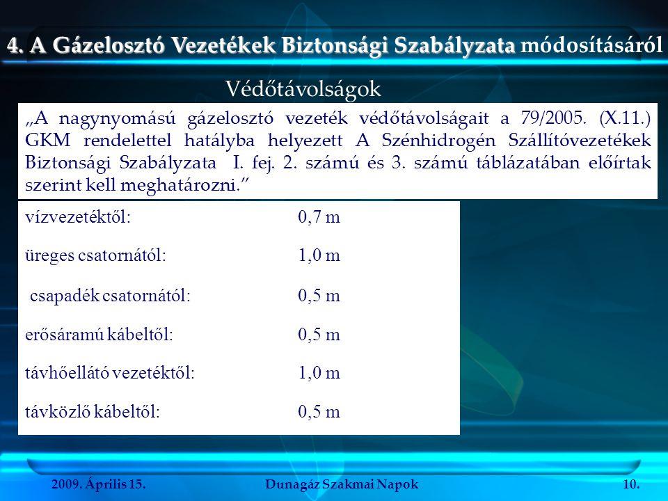 2009. Április 15.Dunagáz Szakmai Napok10. 4. A Gázelosztó Vezetékek Biztonsági Szabályzata 4. A Gázelosztó Vezetékek Biztonsági Szabályzata módosításá