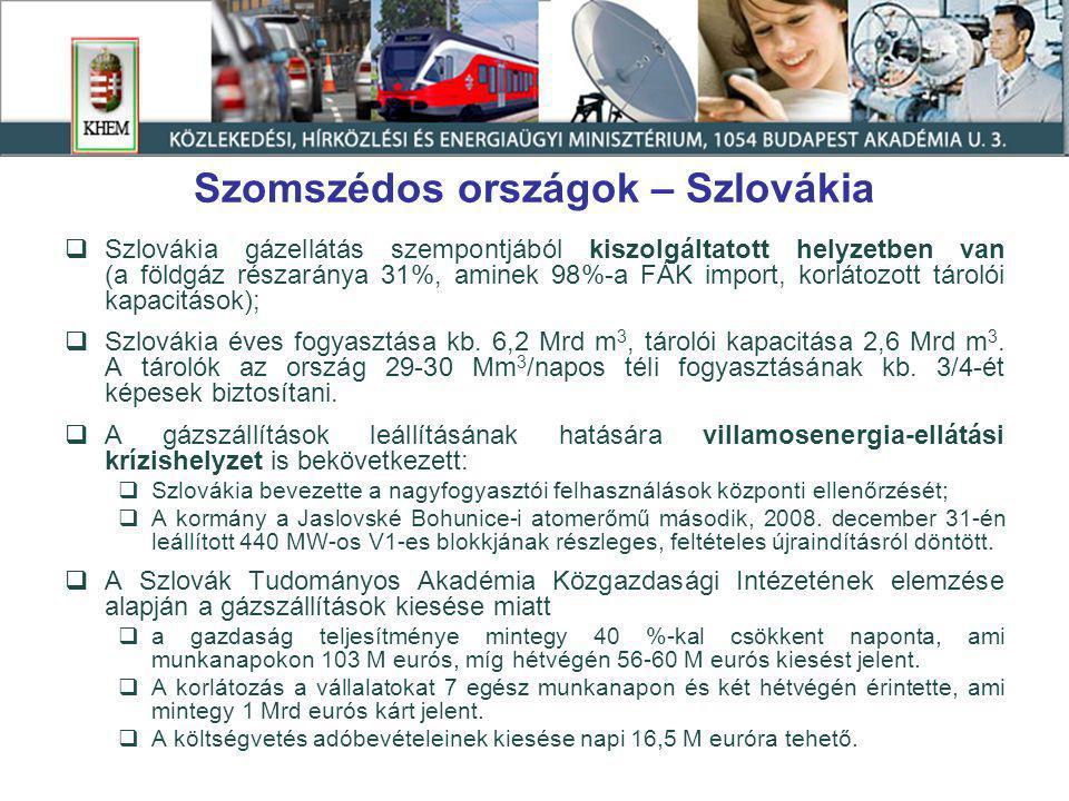 Szomszédos országok – Szlovákia  Szlovákia gázellátás szempontjából kiszolgáltatott helyzetben van (a földgáz részaránya 31%, aminek 98%-a FÁK import, korlátozott tárolói kapacitások);  Szlovákia éves fogyasztása kb.