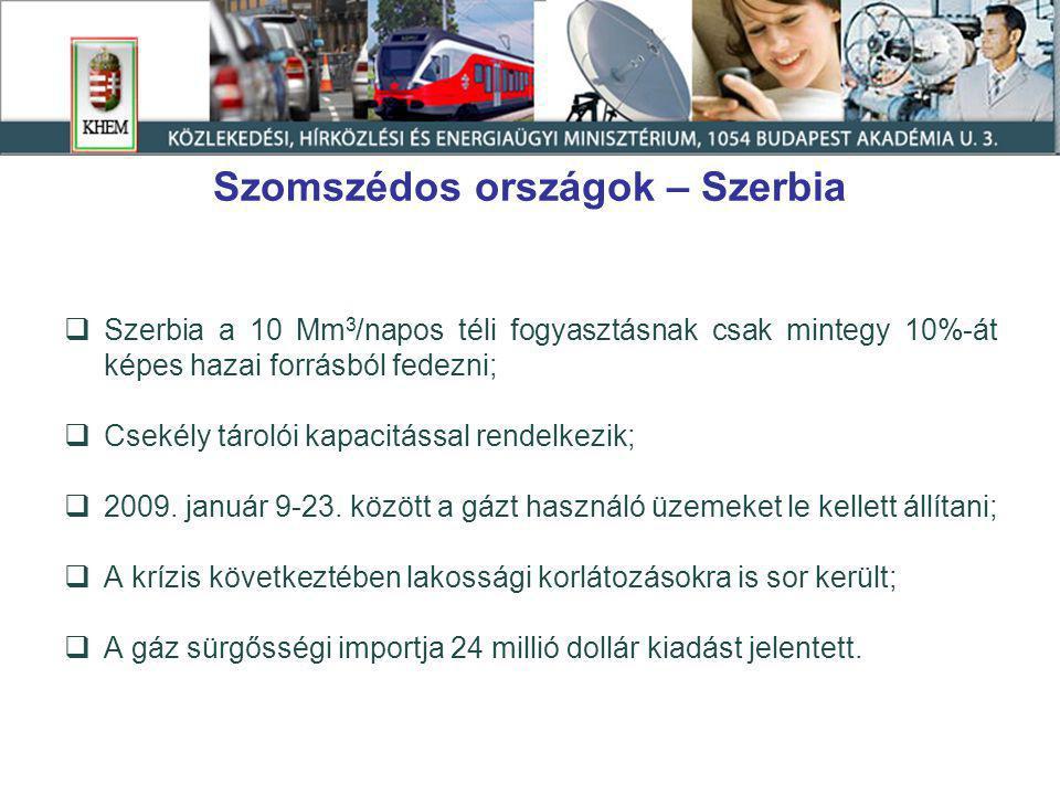 Szomszédos országok – Szerbia  Szerbia a 10 Mm 3 /napos téli fogyasztásnak csak mintegy 10%-át képes hazai forrásból fedezni;  Csekély tárolói kapacitással rendelkezik;  2009.