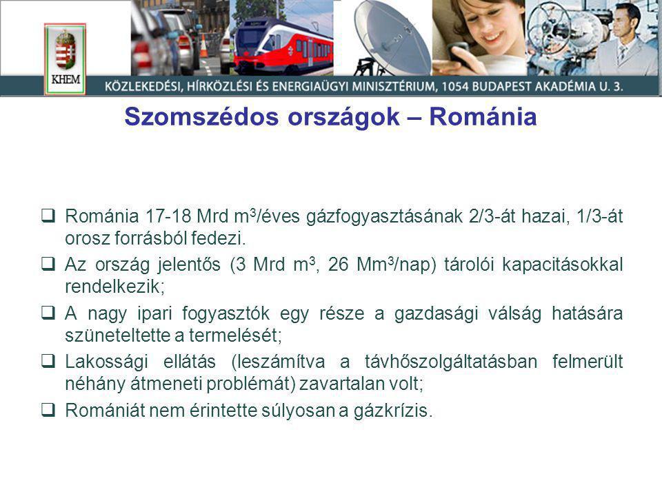 Szomszédos országok – Románia  Románia 17-18 Mrd m 3 /éves gázfogyasztásának 2/3-át hazai, 1/3-át orosz forrásból fedezi.