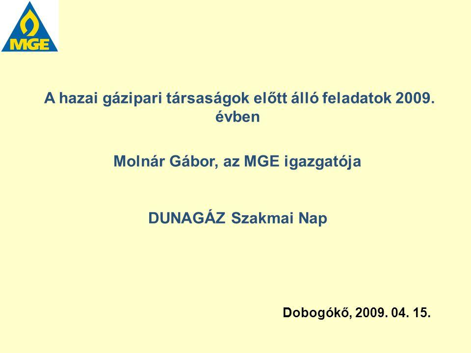 A hazai gázipari társaságok előtt álló feladatok 2009. évben Molnár Gábor, az MGE igazgatója DUNAGÁZ Szakmai Nap Dobogókő, 2009. 04. 15.