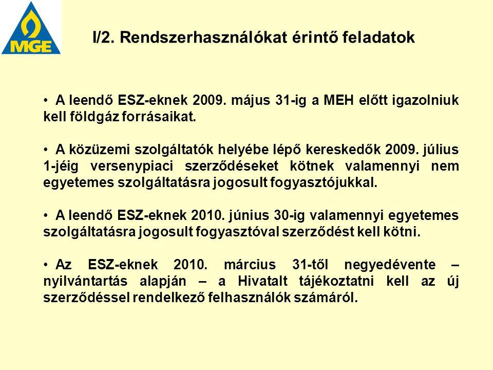 A leendő ESZ-eknek 2009. május 31-ig a MEH előtt igazolniuk kell földgáz forrásaikat. A közüzemi szolgáltatók helyébe lépő kereskedők 2009. július 1-j