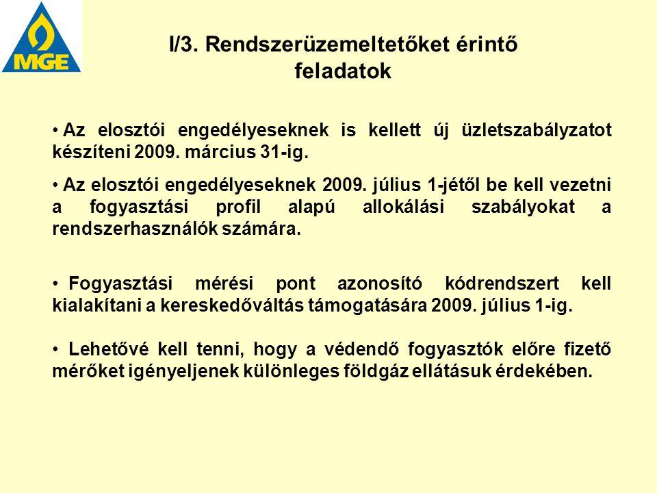 Az elosztói engedélyeseknek is kellett új üzletszabályzatot készíteni 2009. március 31-ig. Az elosztói engedélyeseknek 2009. július 1-jétől be kell ve