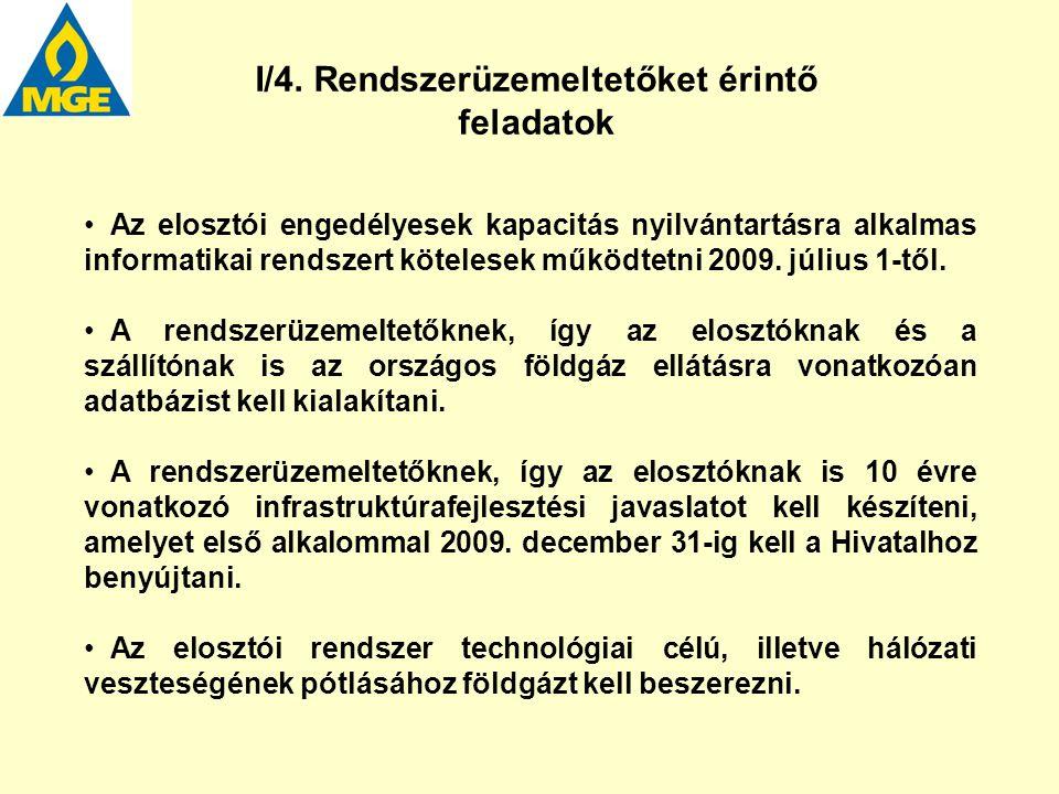 I/4. Rendszerüzemeltetőket érintő feladatok Az elosztói engedélyesek kapacitás nyilvántartásra alkalmas informatikai rendszert kötelesek működtetni 20