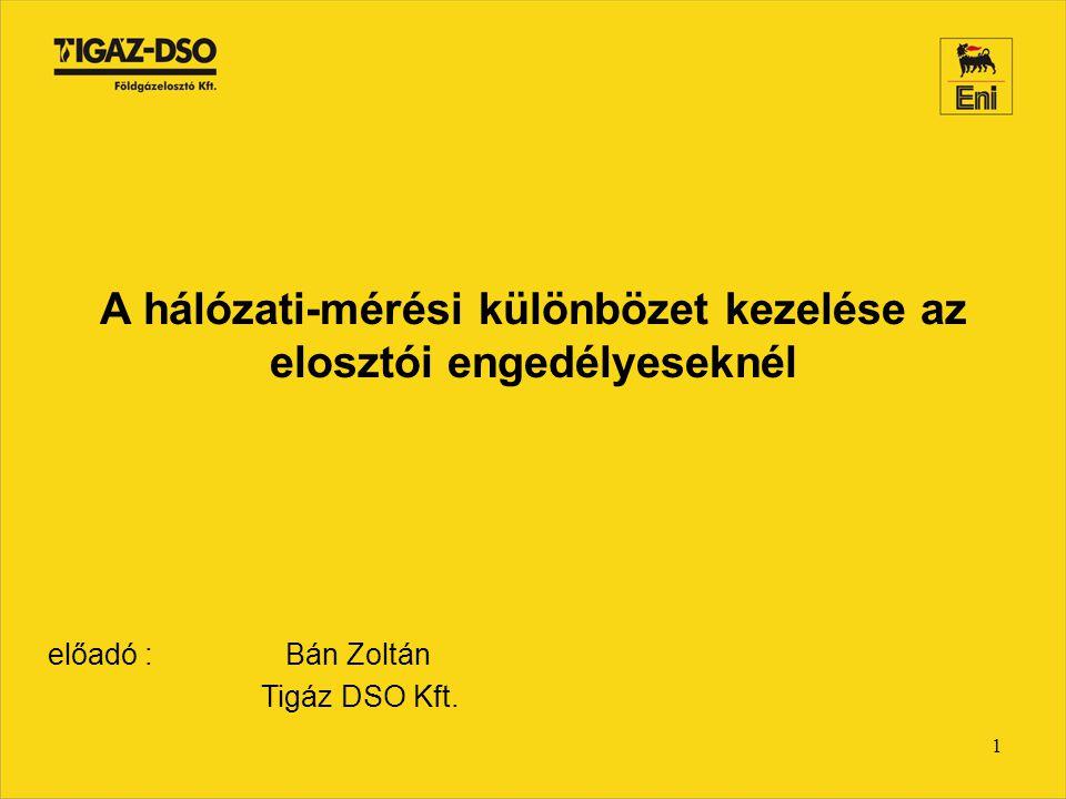 1 A hálózati-mérési különbözet kezelése az elosztói engedélyeseknél előadó : Bán Zoltán Tigáz DSO Kft.