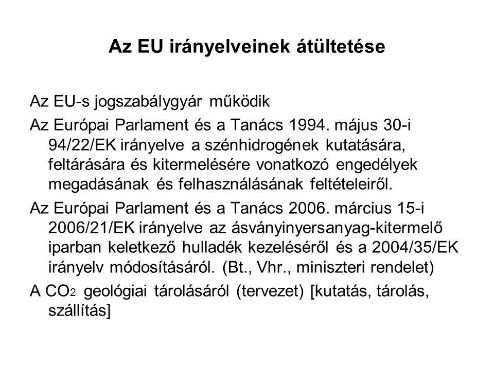 Az EU irányelveinek átültetése Az EU-s jogszabálygyár működik Az Európai Parlament és a Tanács 1994.
